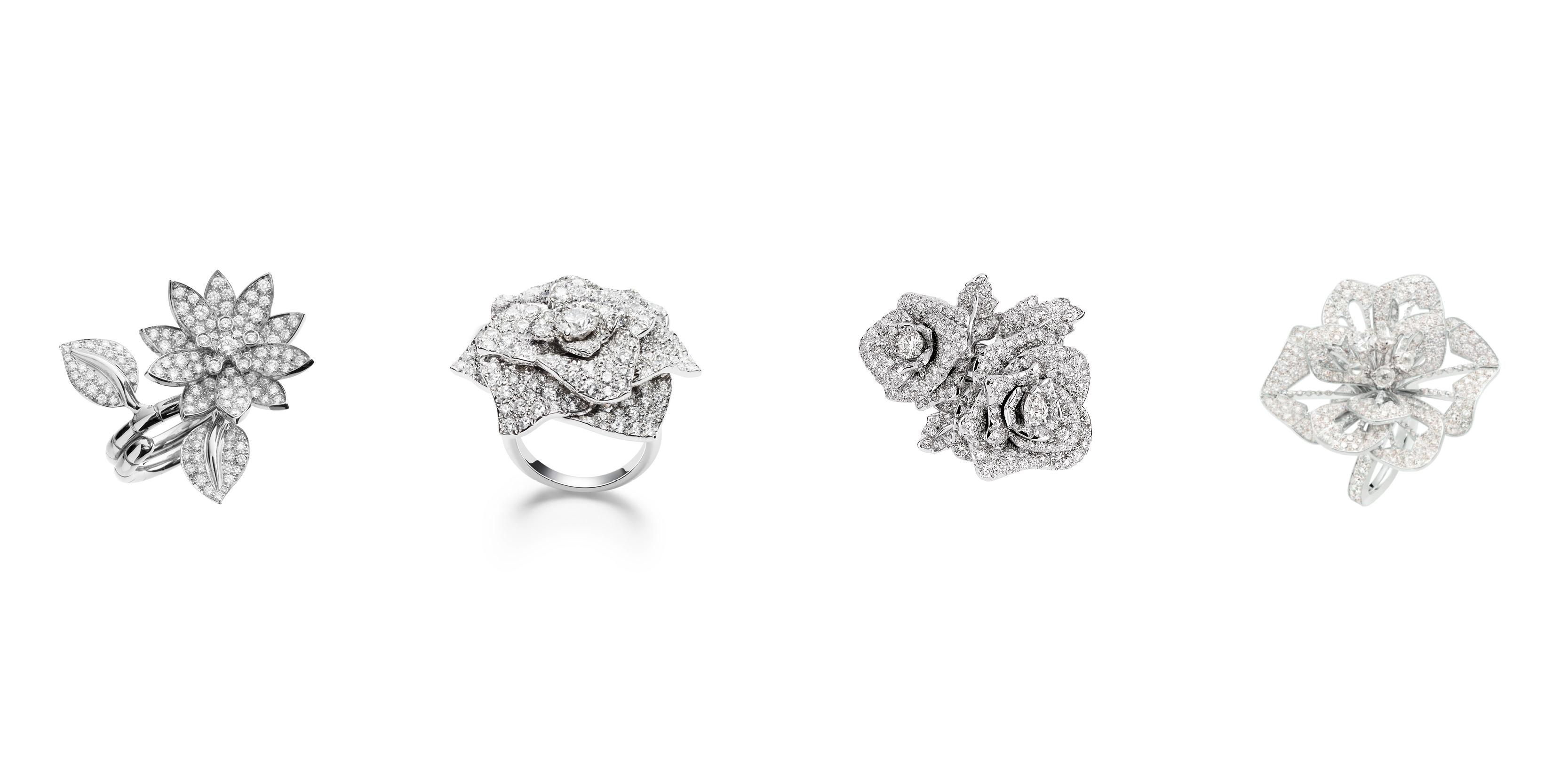 """Bague """"Entre les Doigts Lotus"""", or blanc, diamants ronds, VAN CLEEF & ARPELS. Bague """"Piaget Rose"""" en or blanc 18k, sertie de 36 diamants taille brillant (env. 0,22 ct), PIAGET. Bague """"Rose Dior Bagatelle"""" GM, or blanc750/1000E et diamants, DIOR. Bague """"Pensée de Diamants"""" petit modèle,pavée de diamants, or blanc, BOUCHERON."""