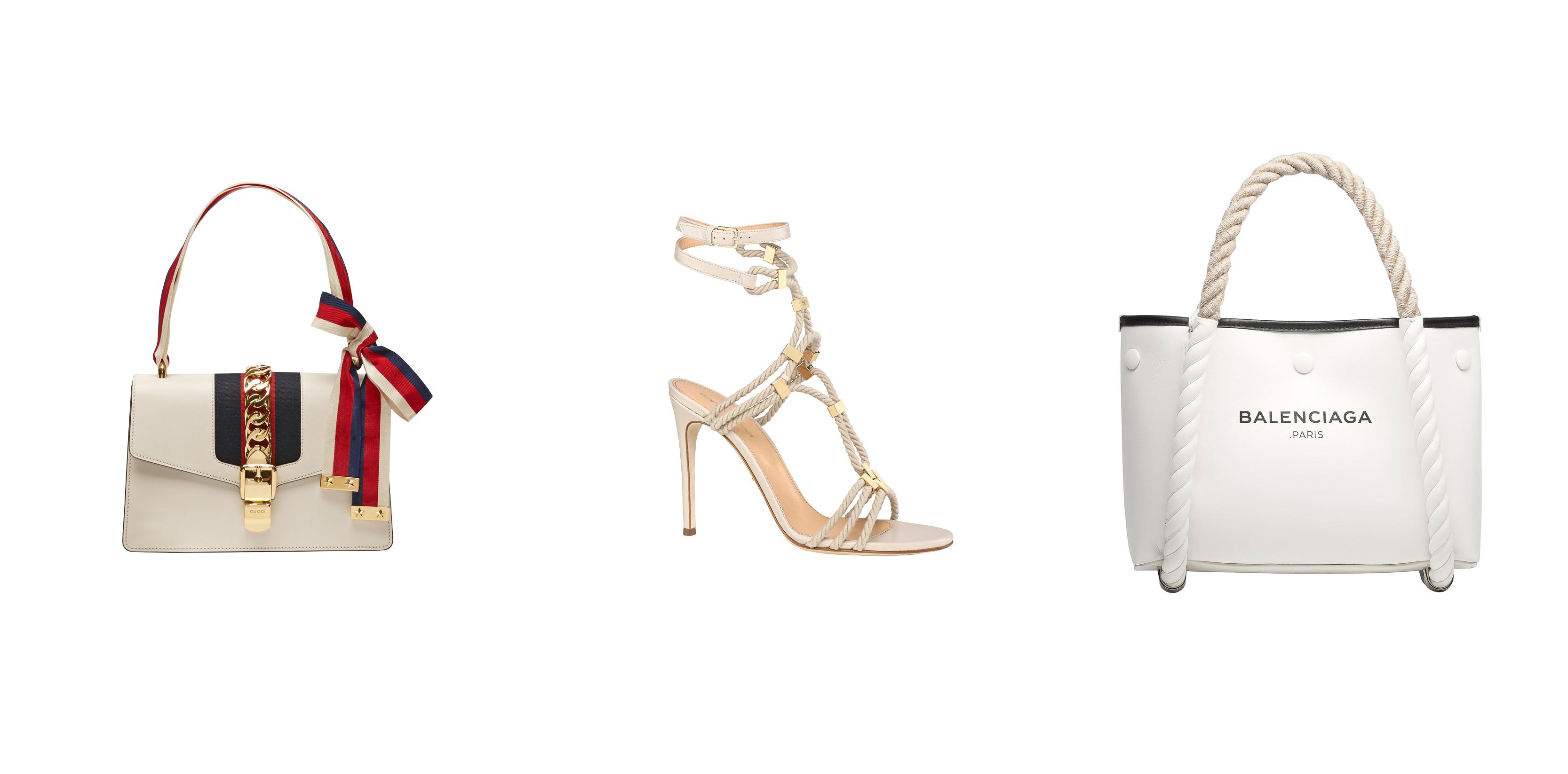 """De gauche à droite : Sac """"Sylvie"""" en cuir ivoire, GUCCI. Sandale en cuir et corde, SERGIO ROSSI Cabas """"Navy"""" en agneau blanc, BALENCIAGA.  Retrouvez notre sélection d'accessoires à fleurs. Retrouvez notre séleciton d'accessoires rayés."""