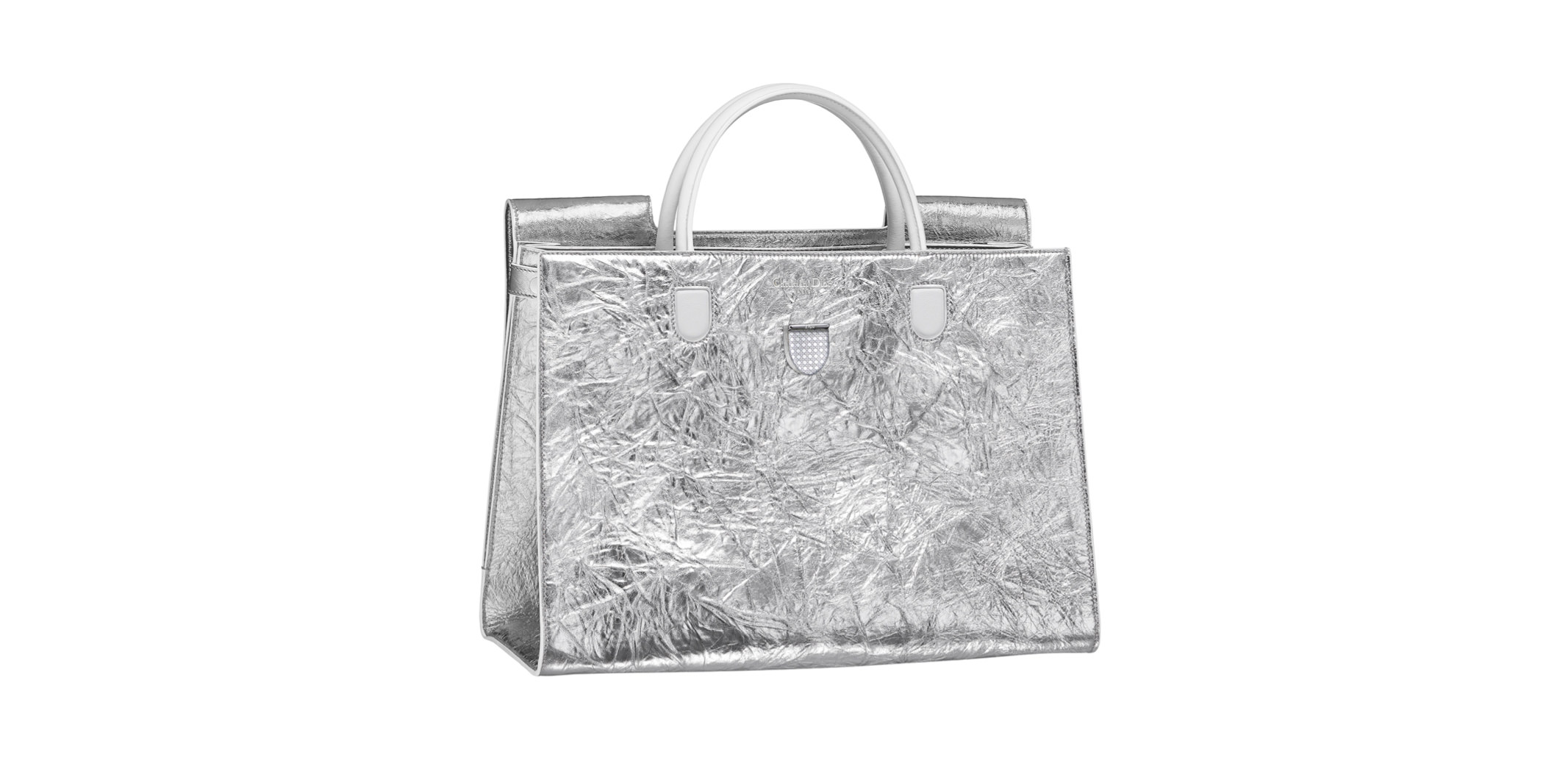 Diorever cracked lambskin silver leather bag, DIOR.
