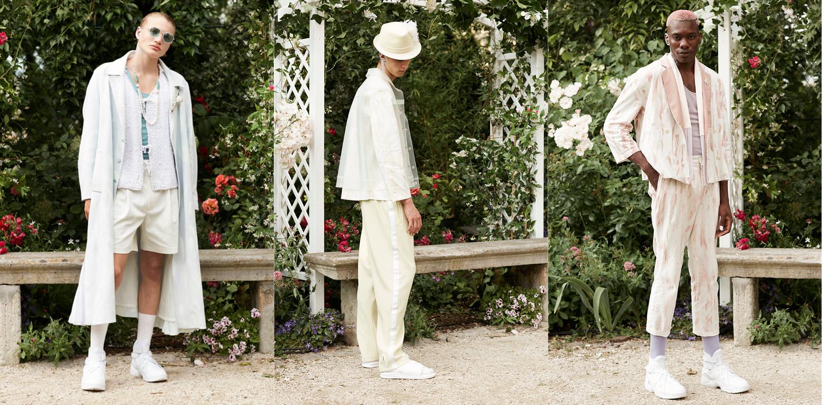 """Ce n'est pas à Pigalle, mais dans le quartier du haut Montmartre que Stéphane Ashpool a réuni les invités de sa présentation Wedding, ce jeudi, prenant la forme d'un vrai mariage. Une foule hétéroclite et excitée, tout de blanc vêtue, se presse, pour assister à l'événement.   La quiétude du jardin du musée de Montmartre, aménagé pour l'occasion, bruisse d'une curiosité exaltée : comment celui que l'on appelle le prince de Pigalleva-t-il mixer mariage et culture street? La musique commence et Pigalle Paris entre en scène avec toujours ces gueules et ce cool des mecs de la rue qui font la richesse des shows. Les mannequins défilent les uns après les autres, pour se placer devant une sublime enseigne en fleurs blanches """"brandée"""" Pigalle.   Jogging mandarine ou opalin, bomberssatinés argentés, vestes de smoking ou trench crème agrémenté de touches pastel, du jaune, du bleu et du rose dragée. C'est gai et street. L'homme Pigalle Paris printemps-été 2017 est plus romantique sportswear que jamais, comme se plaît à le rappeler Ashpool.   On remarque les plissés Lognon d'un trench, les plumes Lemarié signant les chapeaux, et les broches en forme de rose créées par Goossens Paris, faisant flirter la collection avec la haute couture. Pigalle Paris a gagné l'ANDAM 2015, et ça se voit.  L'apogée du show, l'entrée de Marissa Seraphin (la petite amie de Stéphane Ashpool) dans une magnifique jupe et hautassorti brodés de fleurs par les ateliers Lesage, conduite jusqu'à l'hôtel par le génial chorégraphe Larry Vickers et l'acteur Paul Hamy pour célébrer ce mariage exceptionnel. Le Pigalle Wedding, sublime et émouvant.  www.pigalle-paris.com  Par Léa Zetlaoui"""