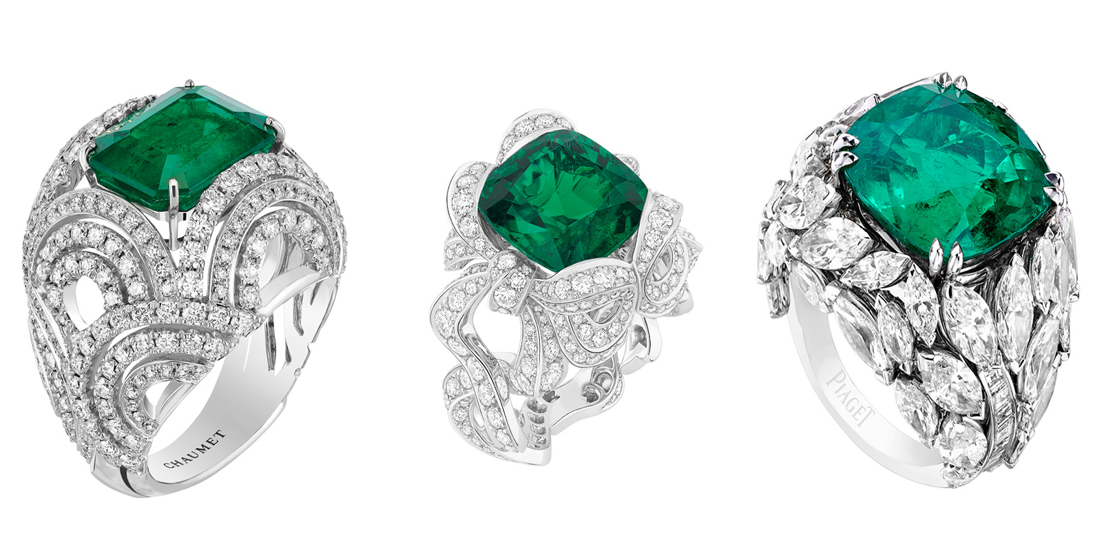 """From left to right:  """"Lumières d'eau"""" ring, CHAUMET. """"Angélique"""" ring, DIOR JOAILLERIE. """"Limelight Mediterranean Garden"""" ring, PIAGET.   Selection by Rebecca Bleynie"""
