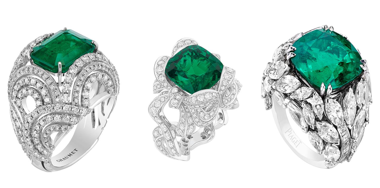 """De gauche à droite :  Bague """"Lumières d'eau"""" en or blanc, diamants et émeraude, CHAUMET. Bague """"Angélique""""en or blanc, diamants et émeraude, DIOR JOAILLERIE. Bague""""Limelight Mediterranean Garden"""" en or blanc, diamants et émeraude, PIAGET."""