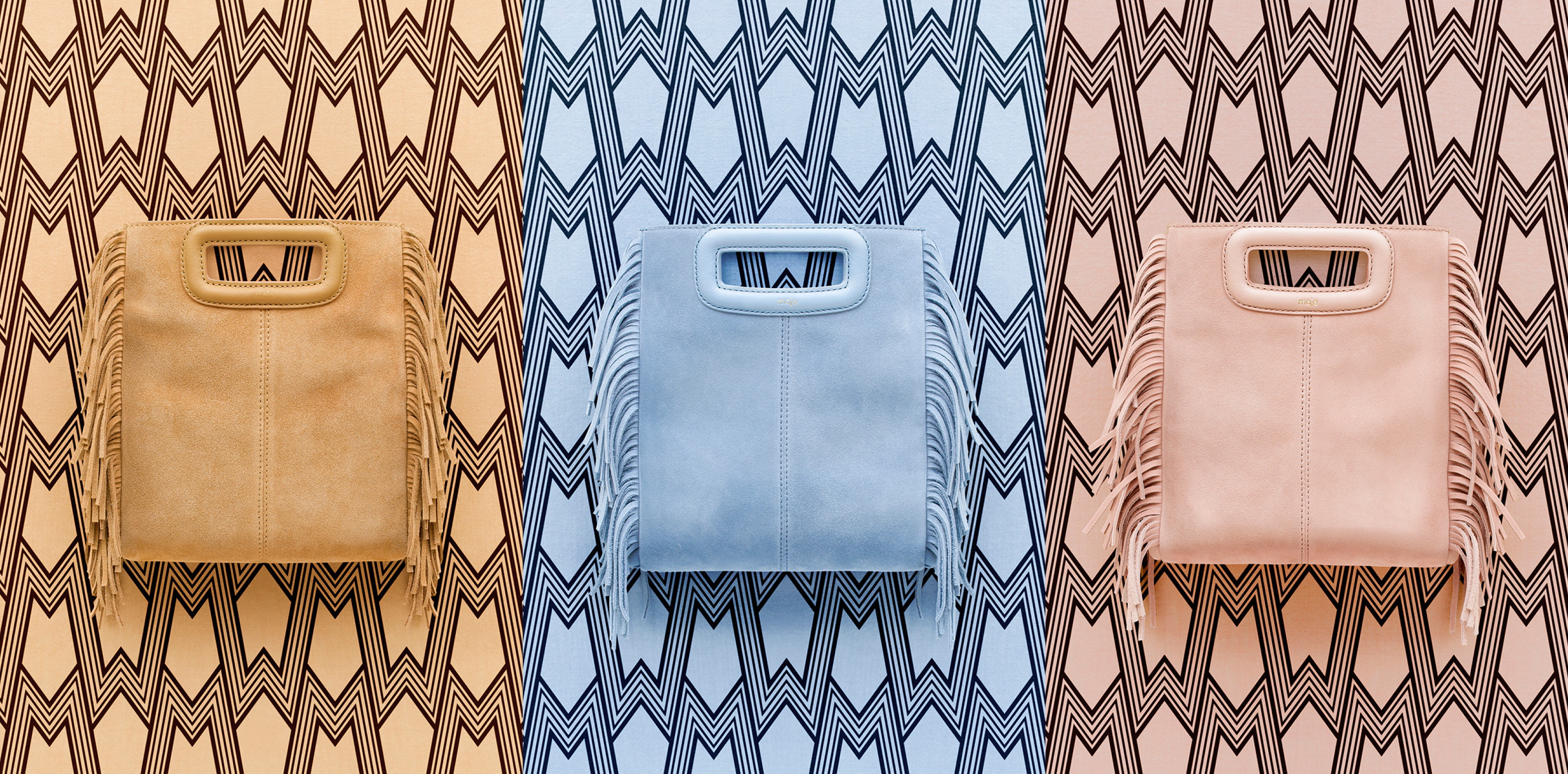 Maje M bag in beige, light blue, and nude.