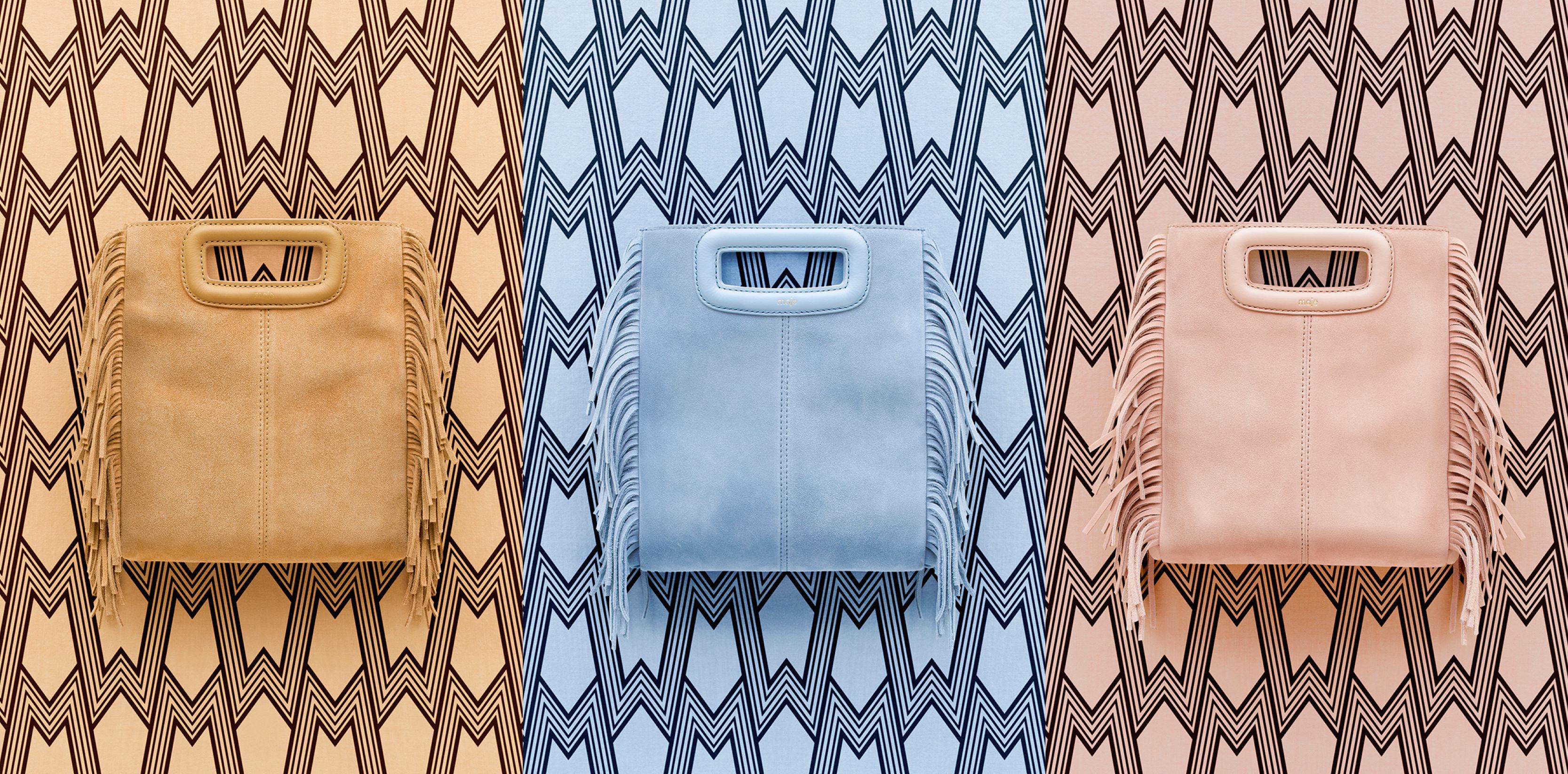 """Le sac """"M"""" de Maje en beige, bleu ciel et nude."""