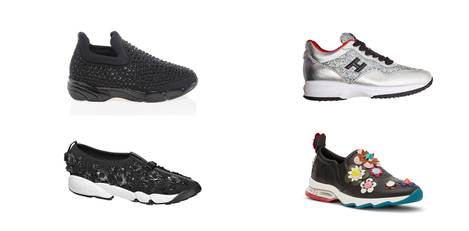 """De gauche à droite et de haut en bas:  Sneakers """"Shine baby Shine"""" en cuir et paillettes, PINKO. Sneakers """"Interactive"""" en cuir et paillettes, HOGAN CLUB EDITION. Sneakers en tissu technique à broderies florale, DIOR. Sneakers en velours brodé de fleurs, FENDI."""