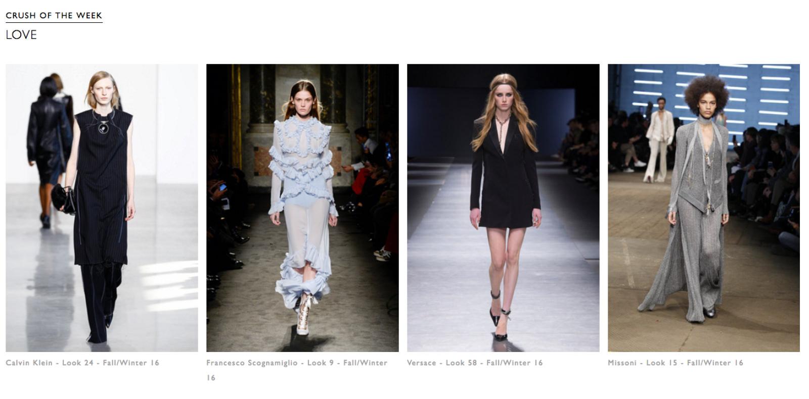 """Tout d'abord, comme l'explique Alexandra """"Par souci de temps et d'efficacité, j'avais tendance à regarderen priorité les grandes maisons comme Chanel, Dior ou Céline.Alors que sur Tagwalk, la recherche se faisant par mot-clés, les jeunes designers,comme Drome,bénéficient de la même visibilité que les autres."""" Et grâce aux rubriques""""Trends of the week"""", """"Colour of the week"""" et """"Crush of the week"""",ces labels moins connus ont autant de chance de se retrouver enfront page.  Après plusieurs années dans l'industrie en tant qu'assistante styliste, Alexandra a eu le temps de développer """"son œil"""". Les mots-clés choisis pour chaque look sont le fruit de sa réflexion et comme elle le souligne : """"le but n'est pas de reprendre les communiqués de presse des marques mais bien d'offrir une vision globale sur le vêtements ou bien l'accessoire."""" Par ailleurs, elle poursuit : """"sur la saison automne-hiver 2016/2017, c'est intéressant de voir que sur toutes les collections, il y a une dizaine de mots-clés, donc tout autant de trends qui ressortent parmi lesquellesle militaire, le velours, ou les looks baby dolls.""""Tagwalk deviendrait alors une sorte d'outils d'analyse de tendances grâce à l'occurrence des mots clés utilisés par saison."""