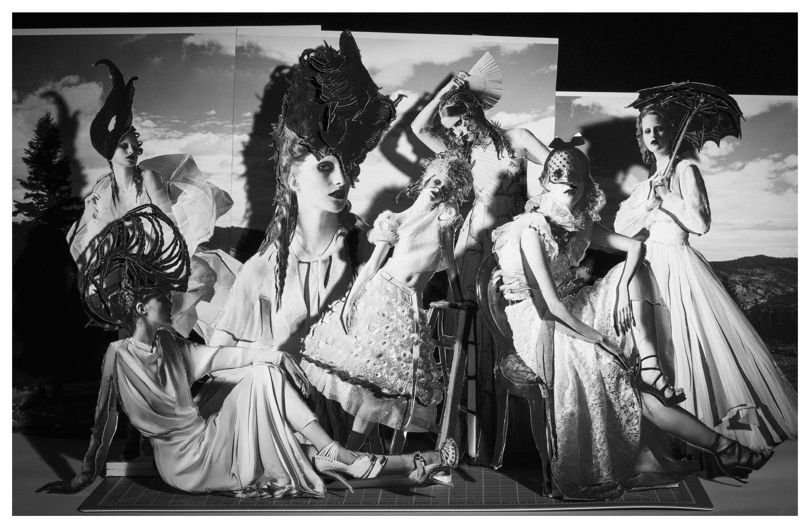 De gauche à droite : robe en satin de soie, ALEXANDRE VAUTHIER COUTURE. Chapeau, HEATHER HUEY. Robe en cady de soie, BOUCHRA JARRAR.Chapeau, HEATHER HUEY. Sandales, GAULTIER PARIS. Robe en mousseline de soie et dentelle, GIVENCHY HAUTE COUTURE PAR RICCARDO TISCI.Chapeau, HEATHER HUEY. Haute et jupe en organza et tulle, ceinture, bonnet et bottines, CHANEL HAUTE COUTURE. Robe en tulle brodéde jais, VALENTINO HAUTE COUTURE. Robe en dentelles brodée de fleurs, voilettes et sandales, GIAMBATTISTA VALLI COUTURE. Robe en tulle brodé et sandales, GAULTIER PARIS.  Réalisation : Charles Varenne assisté de Chloé Badawy et de Cecilia Bowe. Mannequin : Magdalena Jasek chez Oui Management. Maquillage : Fredrik Stambro chez Streeters. Coiffure : Jordan M chez Susan Price NYC. Numérique : Kenny Aquiles. Production : Scott Hardy chez Management + Artists.