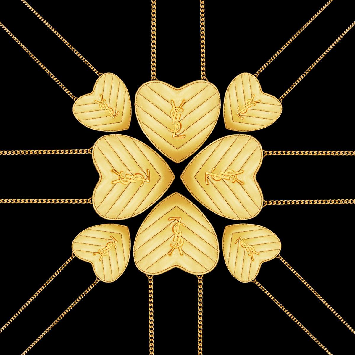 Sac en cuir à monogramme doré Love, SAINT LAURENT.