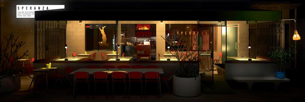 Restaurant SPERANZA Installé dans le quartier de Silver Lake, Speranza est reconnu pour ses pâtes maison, mais c'est son cadre qui, pour moi, en fait un lieu d'exception. Presque entièrement en extérieur, son décor allie verdure et très beaux objets de design : des meubles venus des Pays-Bas ou de magnifiques lampes italiennes. 2547 HYPERION AVENUE, LOS ANGELES.