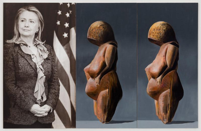 """Spirit2015, 60 x 92""""152.4cm x 234cmoil and acrylic ink on canvas  Julia Wachtel étudia à la School of Visual Arts de NewYork et suivit l'enseignement de l'Independent Study Program du Whitney Museum, mais, pour elle, tout commença peut-être avec une exposition à laquelle elle ne participait pas. Organisée par le critique américain Douglas Crimp à l'Artists Space de NewYork à l'automne 1977, l'exposition s'intitulait Pictures et rassemblait les œuvres de cinq jeunes artistes: Robert Longo, Sherrie Levine, Troy Brauntuch, Jack Goldstein et Philip Smith. Le texte qui accompagnait l'exposition fit rapidement figure de manifeste pour une génération pressée d'en découdre avec le legs imposant de l'art minimal et de l'art conceptuel, pressée, surtout, d'injecter dans les œuvres des préoccupations directement inspirées par le poids spectaculaire pris par les images dans la vie ordinaire, et par leur complexité latente affleurant sous une apparence quasi publicitaire. """"Jamais nous n'avons été à ce point gouvernés par les images. Celles des journaux, des magazines, de la télévision, du cinéma. Notre expérience directe, elle, recule, jusqu'à paraître triviale. Alors qu'elles avaient auparavant pour fonction d'interpréter la réalité, il semble qu'elles aient désormais usurpé sa place. Il devient donc impératif de comprendre l'image en soi, non pas comme un accès à une réalité perdue, mais plutôt comme une structure qui a sa signification propre. Car les images sont caractérisées par un phénomène qui, pour être souvent noté, est insuffisamment compris: c'est que leur contenu nous échappe, leur sens est extraordinairement opaque. L'événement réel et l'événement fictif, l'anodin et l'horrible, l'ordinaire et l'exotique, le possible et le fantastique: tout est confondu dans l'universelle similarité de l'image"""", écrit notamment Douglas Crimp dans ce catalogue. Les artistes qui prirent part à cette exposition se retrouvèrent d'ailleurs dans la première manifestation d'une galerie qui"""