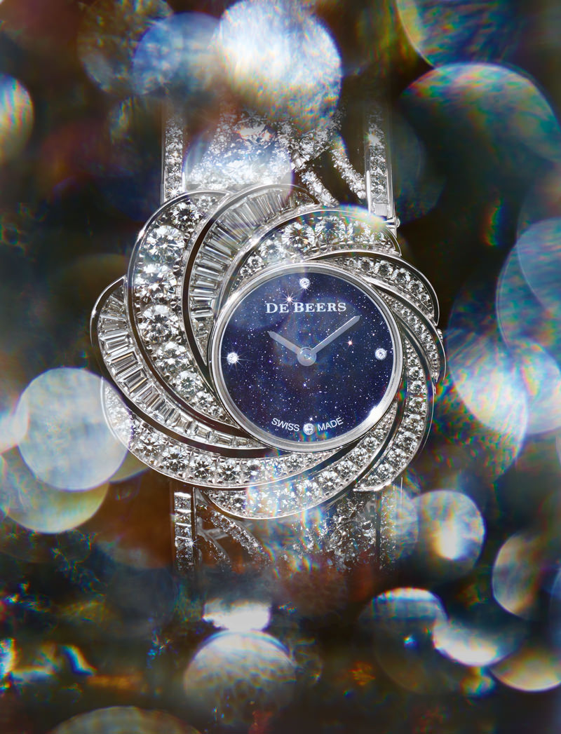 "Manchette-montre ""Aria Haute Joaillerie Unique"" en or blanc et diamants, DE BEERS."