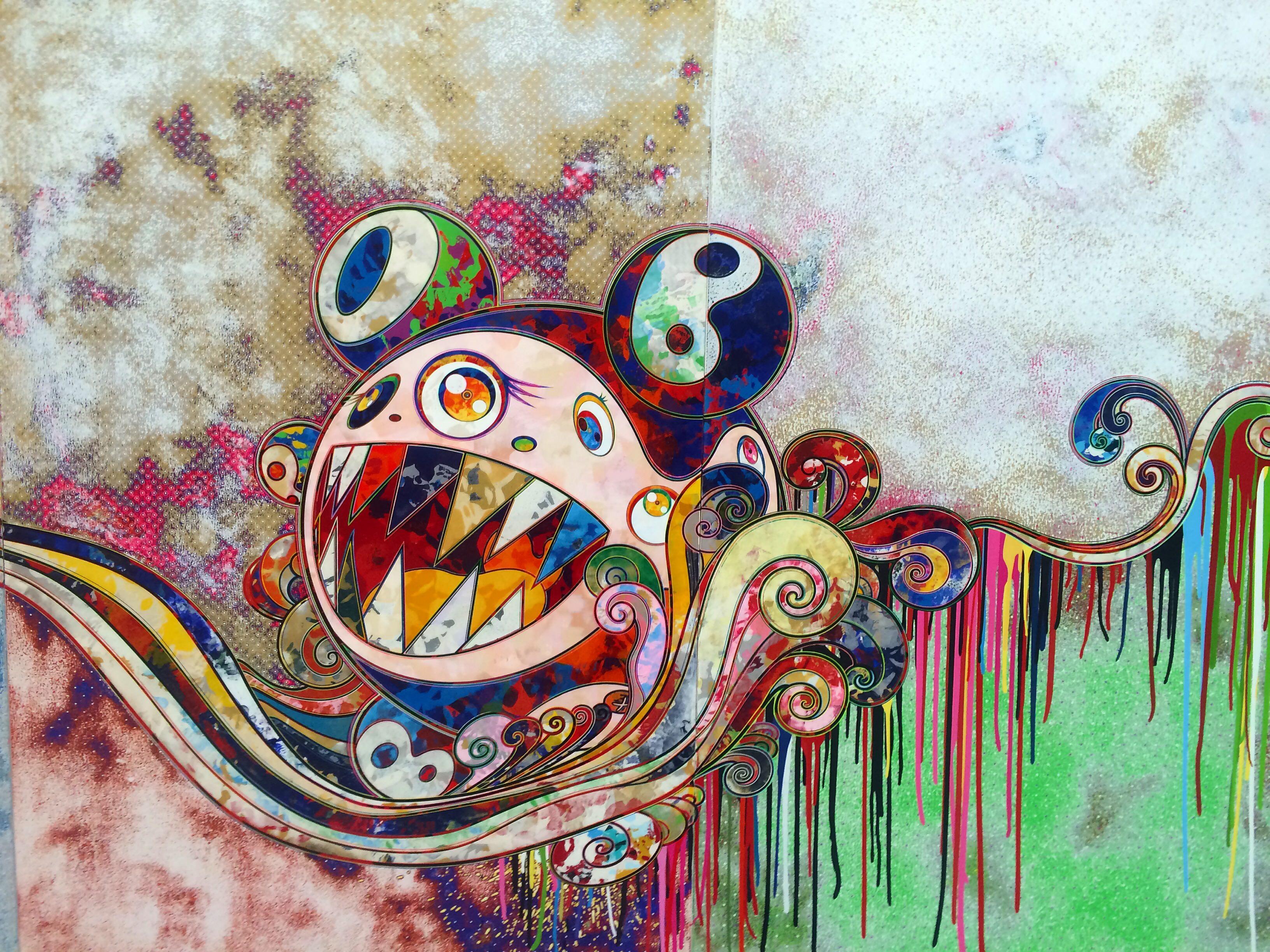 Détail d'une œuvre de Takashi Murakami à la galerie Perrotin.
