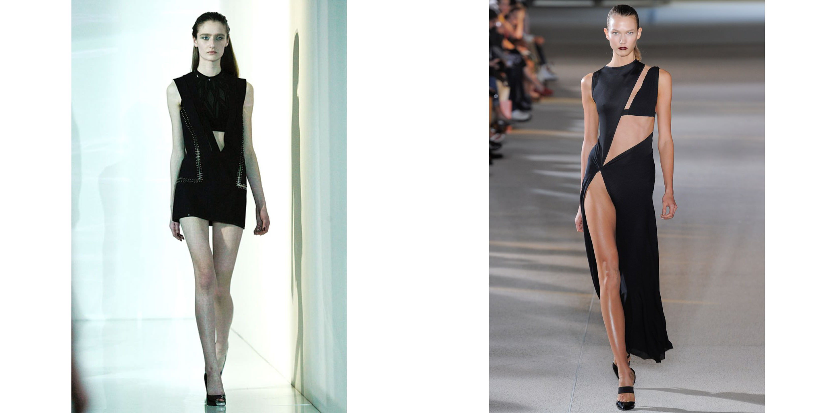 Left: ANDAM collection. Right: Karlie Kloss at the spring-summer 2012 runway show   The decisive turning point:  Anthony Vaccarello's meteoric rise continued with his winning of the ANDAM Prize in 2011. Following this distinction, his spring-summer 2012 show reached dizzying heights as the hottest models of the moment, including Anja Rubik, Joan Smalls and Abbey Lee Kershaw, all proudly wore his designs on the catwalk. In fashion circles people still remember the energy emitted by Karlie Kloss in that long black asymmetric dress revealing one of her legs right up to her hip. The audience shuddered visibly.