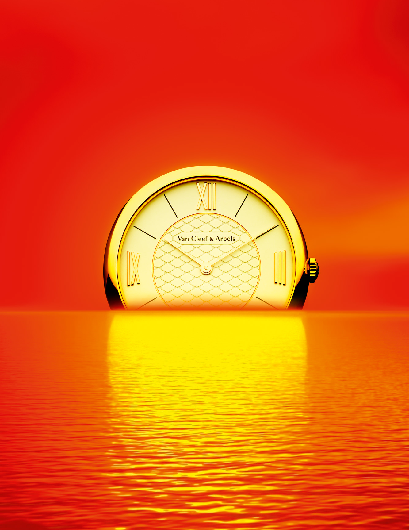 """Montre """"Pierre Arpels"""" en or rose et diamant, VAN CLEEF & ARPELS.  Réalisation : Spela Lenarcic/IIIRD Man. Traitement de l'image : Sofia Albaric."""