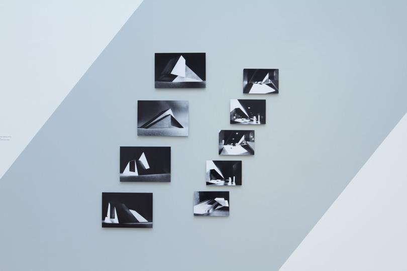 """View from the exhibition """"Musées à venir"""",Jean Nouvel andClaude Parent at Galerie Azzedine Alaïa."""