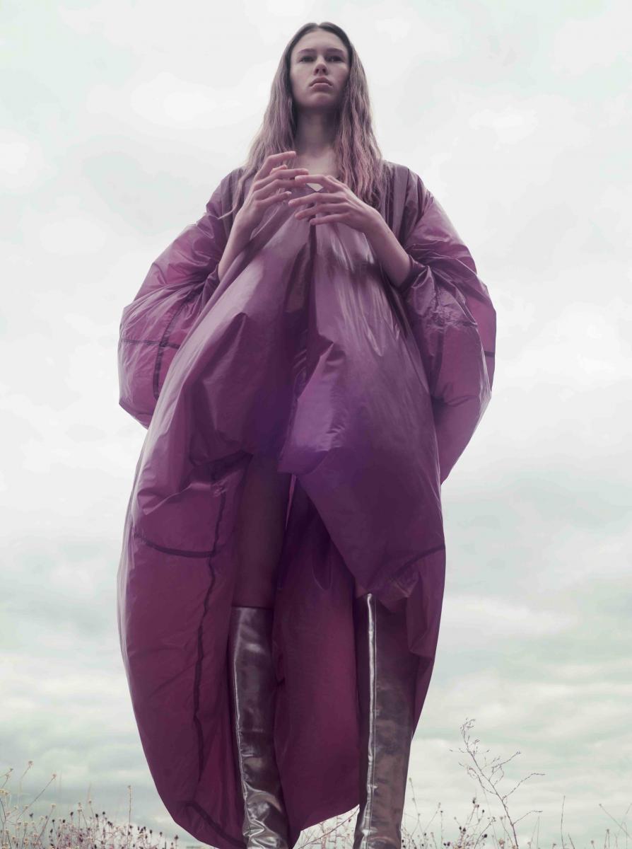 Coat dress, GARETH PUGH. Boots, ANNAKIKI.