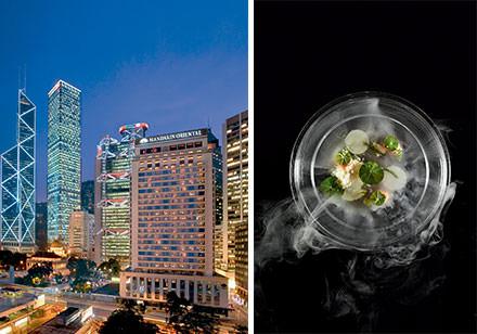 18 h 00 : ivresse des cocktails  On oublie le teatimeau profit des cocktails du très chic et raffiné M Bar, perché au 25e étage de l'hôtel Mandarin Oriental. Pendant toute la période de la foire, il ajoute à sa carte une sélection de breuvages surprenants, dont Future, un cocktail moléculaire à base de whisky, à la fois chaud et glacé.www.mandarinoriental.com/hongkong. © Courtesy of Mandarin Oriental