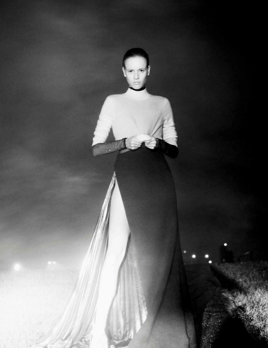 Pullover, ERIC BOMPARD. Body and skirt, MUGLER.