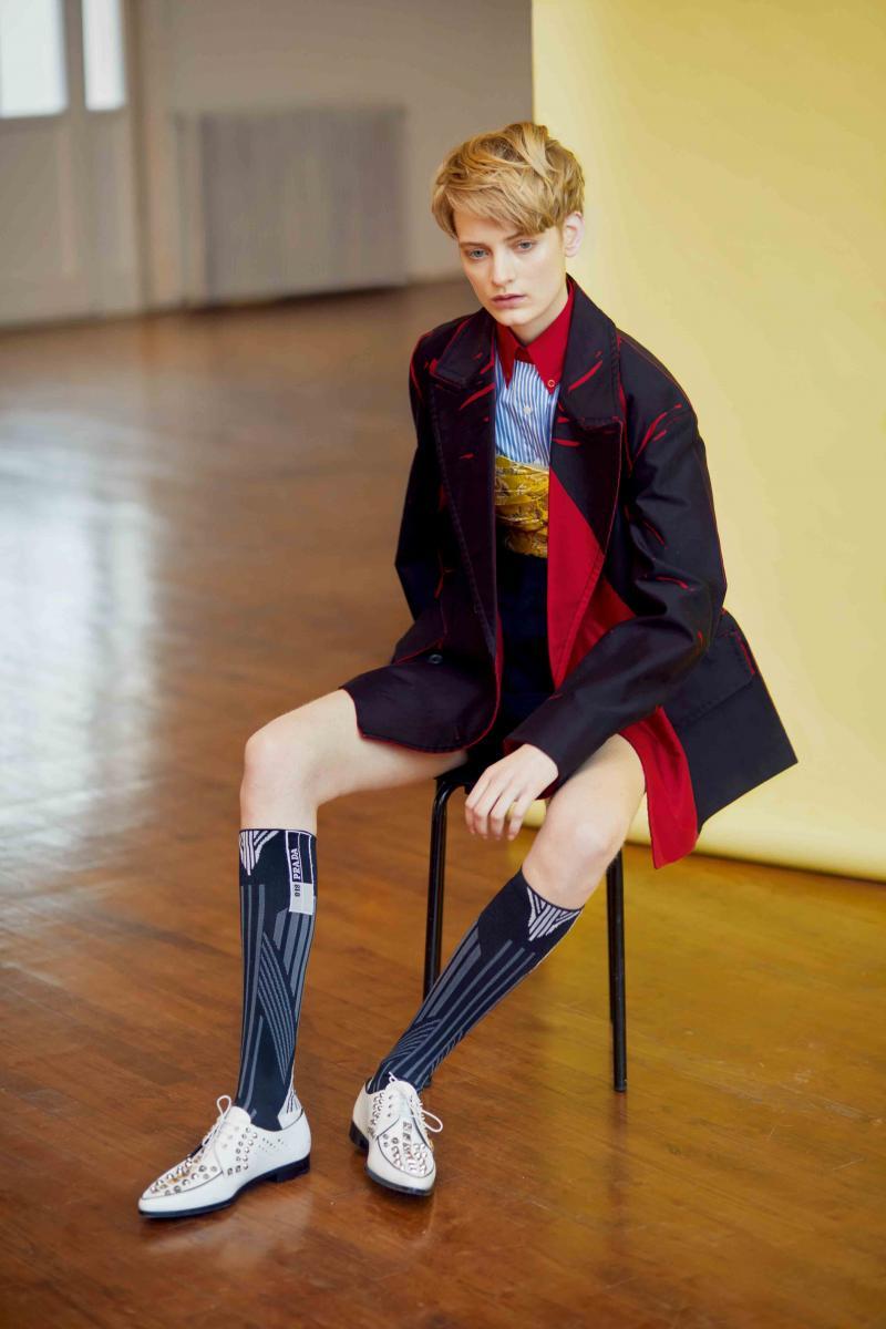 Denim printed coat, shirt, bustier, short, socks and shoes, PRADA.