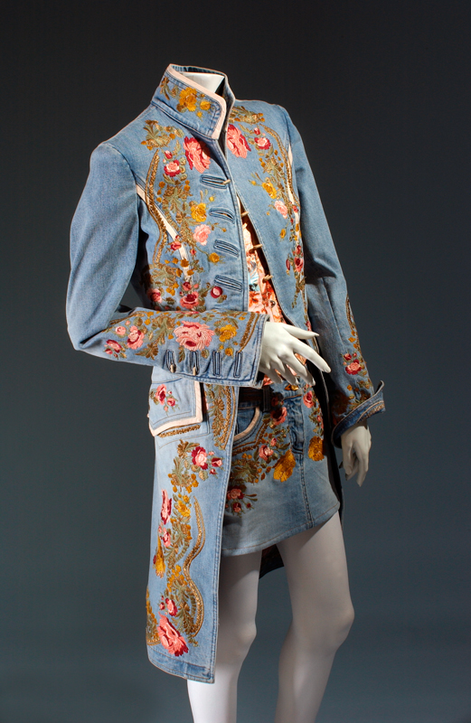 Roberto Cavalli, ensemble, 2002-2003, Italy, gift of Roberto Cavalli. 2003.45.2. Featured in Denim: Fashion's Frontier (2016).