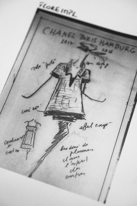 Karl Lagerfeld's sketch for the Métiers d'Art Paris-Hamburg runway show.
