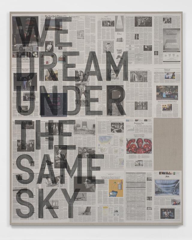 Rirkrit Tiravanija, untitled 2017 (we dream under the same sky, new york times, january 26, 2017), 2017.