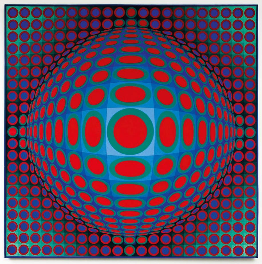 Vega 222, 1969-1970. Acrylique sur toile, 200 x 200 cm, collection Erling Neby, Oslo Photo Øystein Thorvaldsen © Adagp, Paris, 2018
