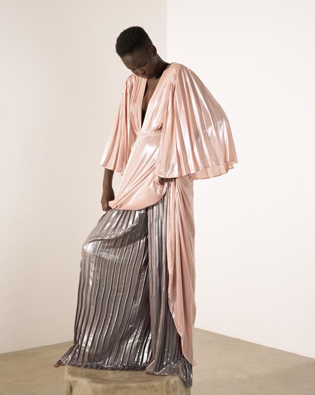 Robe et pantalon plissés métallisés, PINKO.