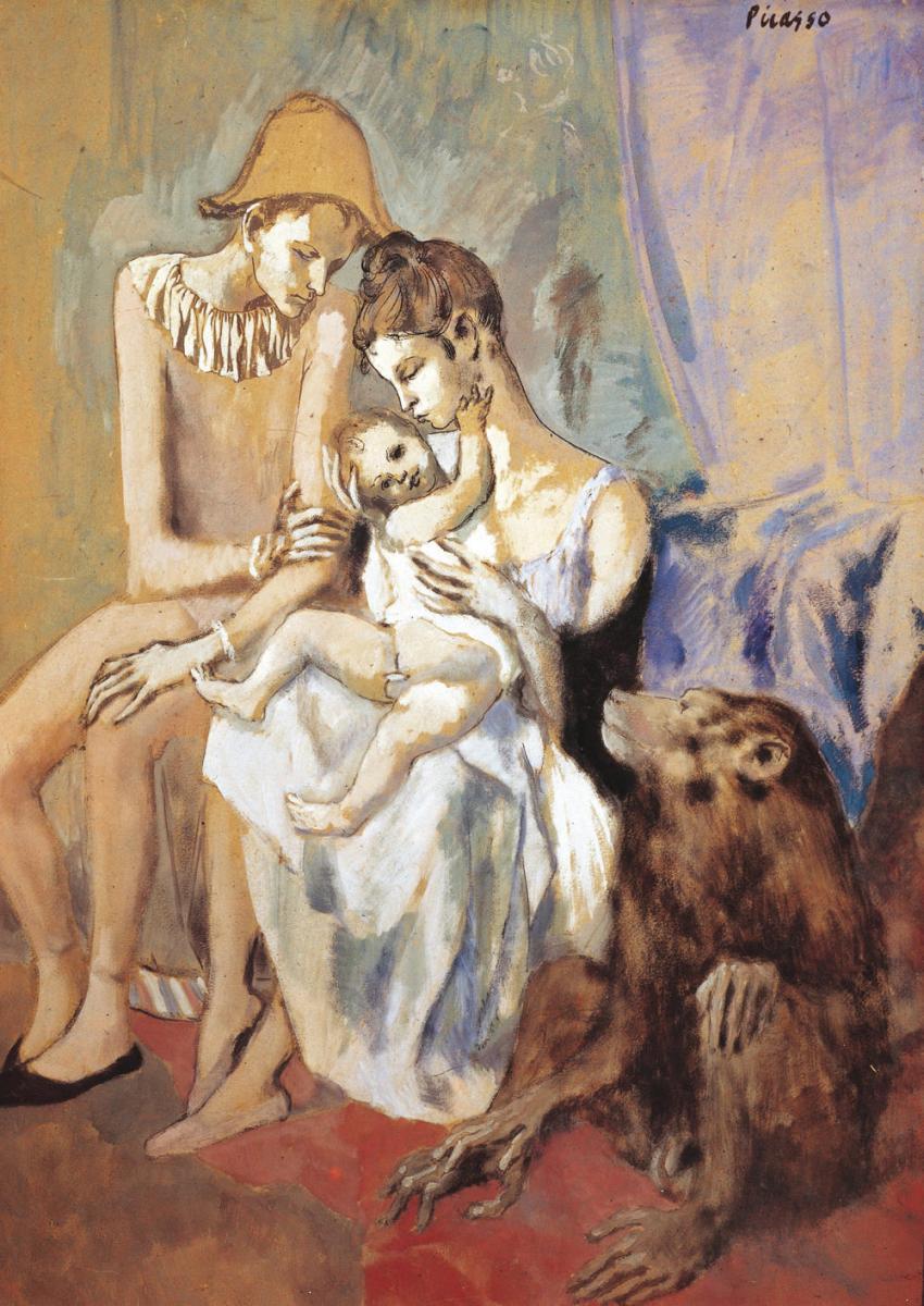 Pablo Picasso, Famille d'acrobates avec un singe,Gouache, aquarelle, encre sur carton,1905,Gothenburg Museum of Art. (Non exposé)