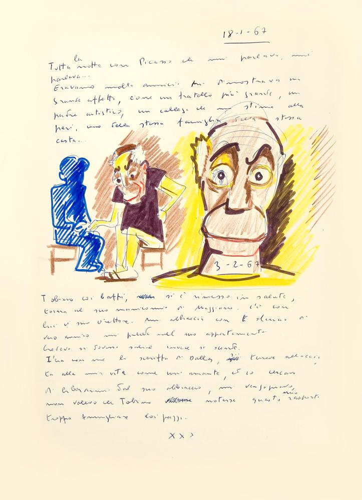 Federico Fellini, Rêve du 18 janvier 1967, Le livre de mes rêves,volume I,© Comune di Rimini Cineteca - Archivo Federico Fellini.