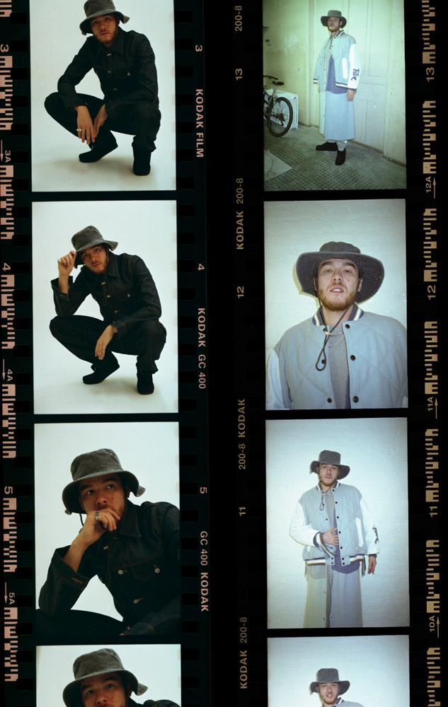 Production : Radical PR. Portraits : Mical Valusek. Stylisme : Pauline de Blonay. Left : Full look Edwin. Shoes : Clark's. Right : Full look Facetasm. Shoes : Clark's. Hat: Model's own