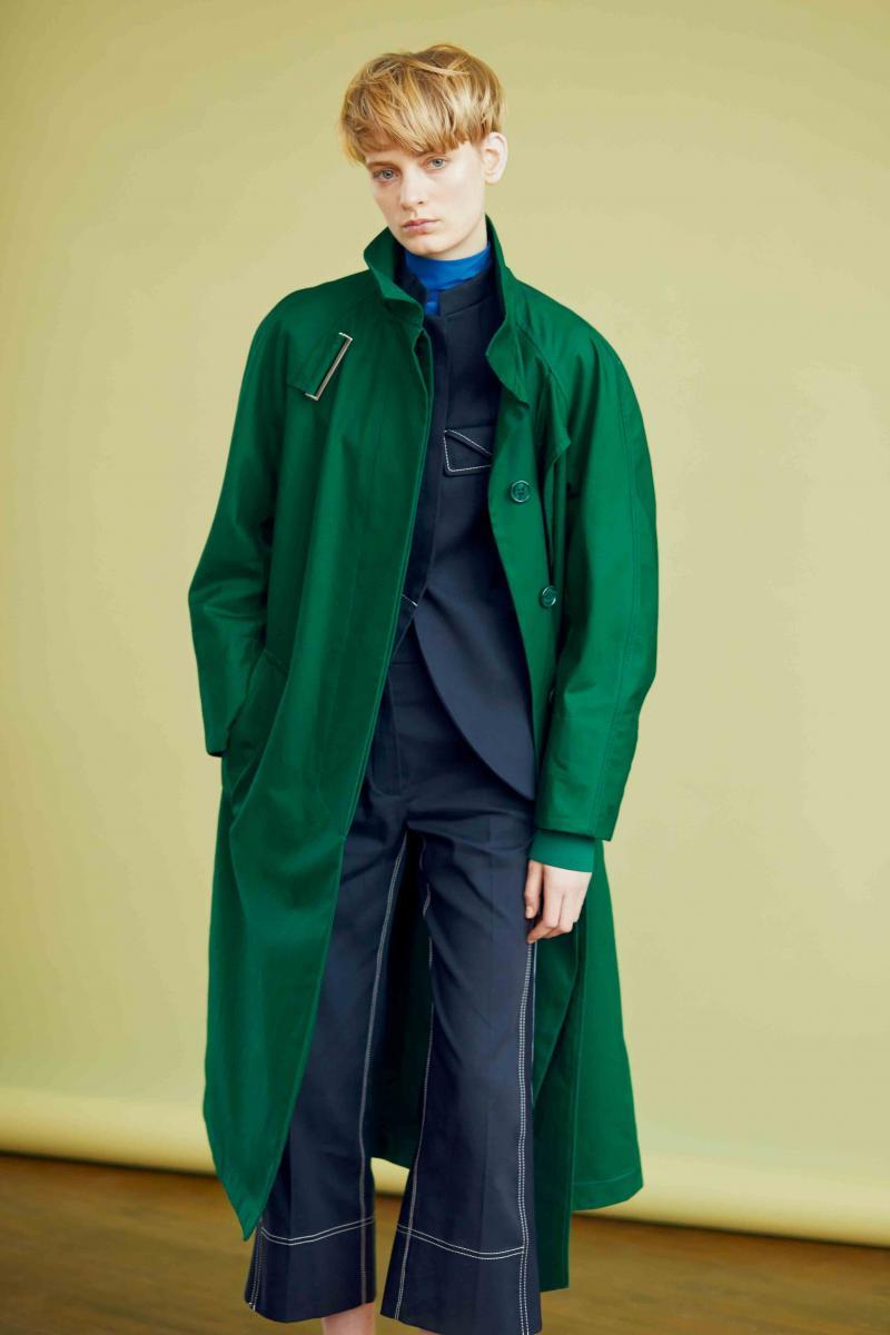 Trench, veste, col roulé et pantalon en coton, SPORTMAX.
