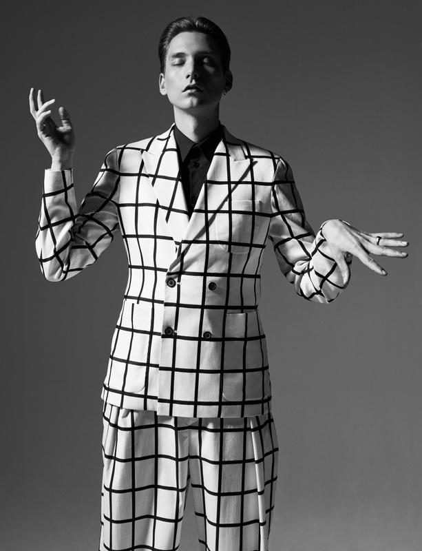 Costume croisé en toile de coton et soie, et chemise en popeline de coton, WOOYOUNGMI.
