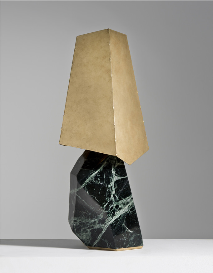 Giacomo Ravagli Barometro Floor Lamp (2016) Alpi green marble, brass Limited edition of 8 + 4 EA H260 L68 W60 (CM) / H102.4 L26.8 W23.6 (IN) Courtesy Carpenters Workshop Gallery