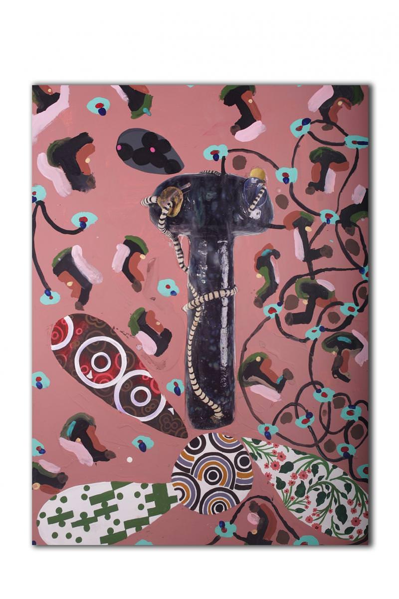 Milena Muzquiz, Everything I Saw Between Here and There(2016).   6. LES PEINTURES-COLLAGES DE MILENA MUZQUIZ  Milena Muzquiz a partagé avec moi l'une de ses récentes toiles,qui devrait être exposée à la rentrée à New York. Après avoir été chanteuse du groupe Los Super Elegantes, Milena est revenue à ses premières amours, l'art (elle avait notamment étudié avecMike Kelleyau Pasadena City College). Elle réalise aujourd'hui des céramiques hyper colorées, un peu à la manière decollages. Elle peut y mêler un morceau demeuble du groupeMemphiset ledétail d'une peinture…tout cela en s'aidant si besoin d'un ordinateur. Elle ne s'est mise à la peinture que très récemment, comme à la recherche d'un geste plus libre et spontané si on le compareà la pratique de la céramique (une pratiquequi, entre le moulage et la cuisson,demande beaucoup de temps). Avecses toiles, Milena arrive à nous donner l'impression qu'un objet en troisdimensionssurgit d'un espace en deuxdimensions,tout en préservantl'esthétique du collage qui lui est propre. Rien de surprenant, quand on sait qu'elle a toujours été fascinée par les natures mortes des peintres flamands.