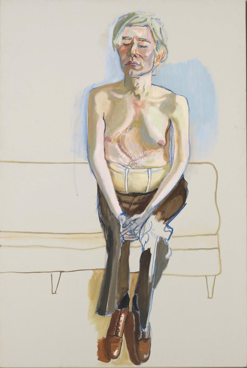 """Alice Neel, """"Andy Warhol"""" (1970).Huile et acrylique sur toile.152.4 x 101.6 cm.Whitney Museum of American Art, New York. Gift of Timothy Collins 80.52© The Estate of Alice Neel.Photo © 2019. Digital Image Whitney Museum of American Art / Licensed by Scala"""
