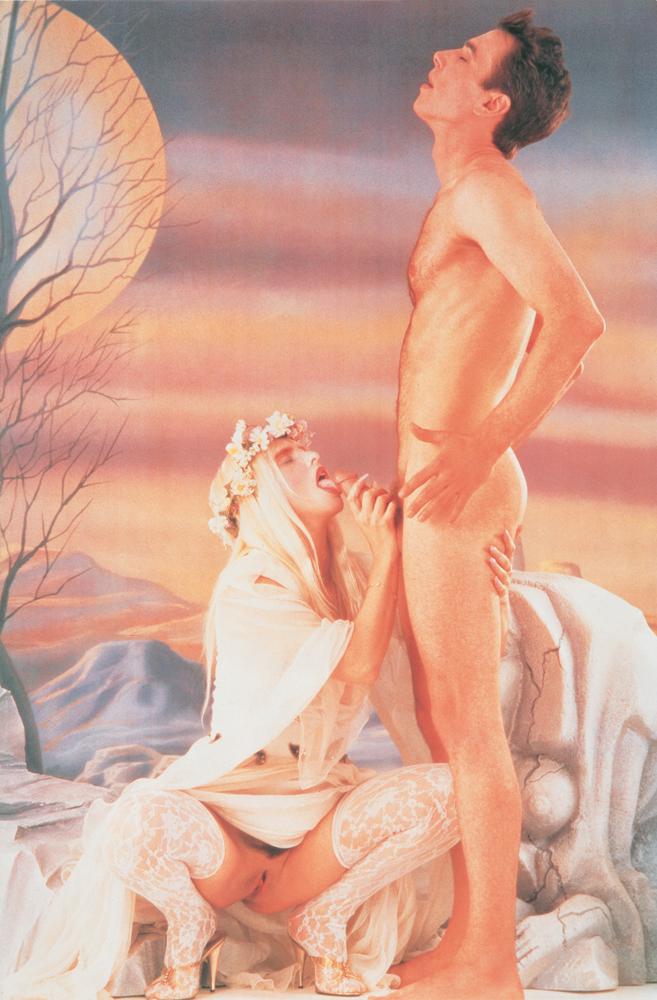 Jeff Koons,Blow Job-Ice, encre à l'huile sur toile recouverte d'un écran de soie(1991). Collection Astrup Fearnley, Oslo.