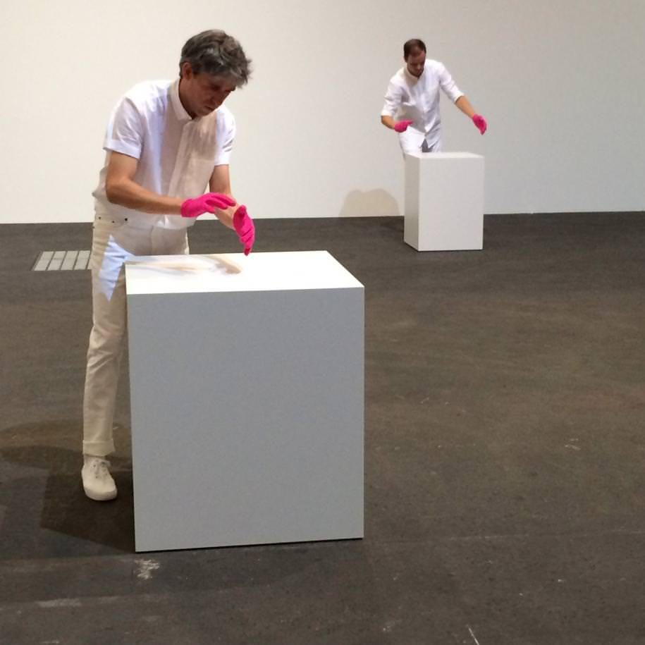 """Mimed Sculptures(2016) by Davide Balula, Frank Elbaz gallery.    Art Basel Unlimited is not just the preserve of the well-known western white male artist and offers plenty of lovely surprises. Take Singaporean Ho Tzu Nyen and her 21-minute video, The Nameless, a perfect success. While she recounts in her voice-over the incredible story of the General Secretary of the Malaysian Communist Party, it'sTony Leung who embodies him. Ho Tzy Nyen has dipped into the great films of the Hong Kong actor notably by film-maker Wong Kar-Wai, to tell the story through different extracts.    """"AIR ART"""":LIKE AIR GUITAR BUT WITH ART   On the performance front, we particularly like Davide Balulawho does a sort of """"air art"""". Just like the air guitar, Balula's mimed sculptures require performers to reconstruct iconic sculptures by gesturing with their hands, everything from Eva Hesse and Louise Bourgeois to Henry Moore was being crafted out of thin air. Fascinating."""