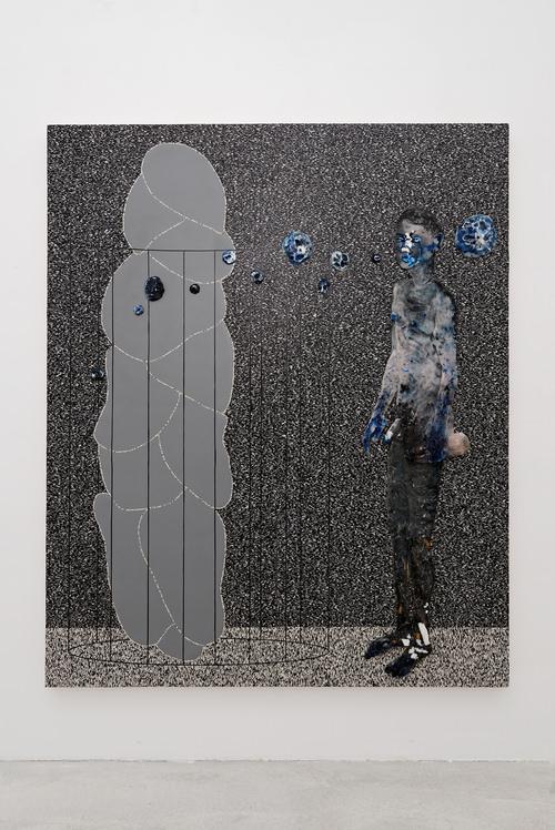 Rub Sore (2015) d'Aline Bouvy, linoléum naturel sur bois et résine avec pigments, paille, mégots et pièces de monnaie, 200 x 164 cm. Courtesy galerie Albert Baronian
