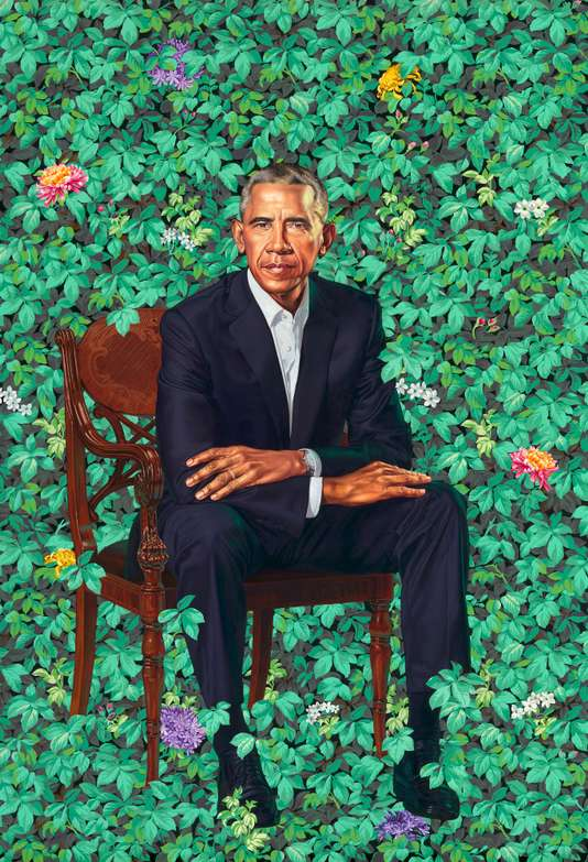 Portrait of Barack Obama by Kehinde Wiley.