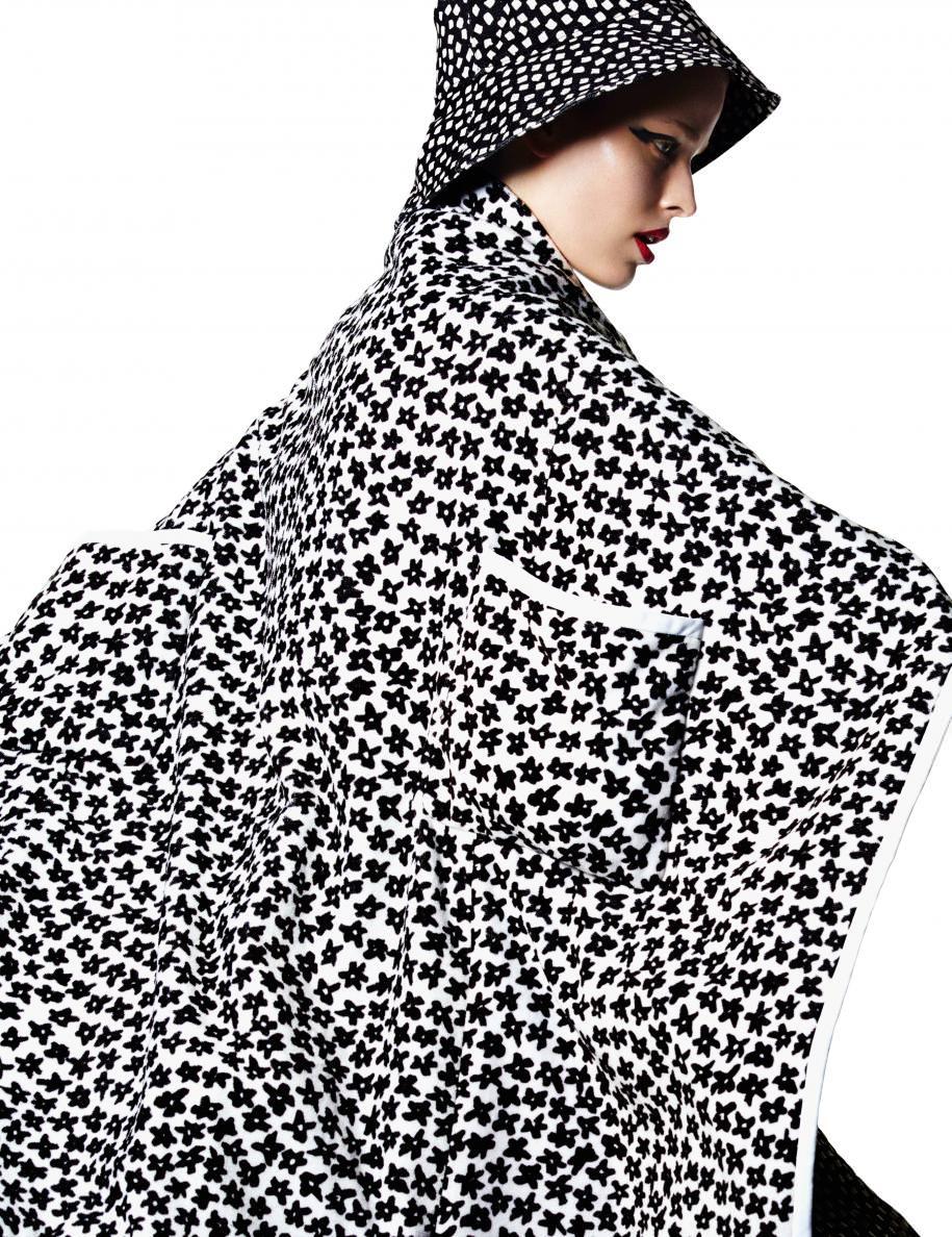 Manteau et chapeau double face en coton imprimé,MAX MARA.