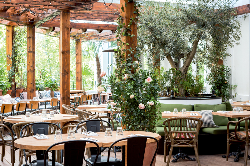 Le jardin toscan de la Brasserie Auteuil, 75016 Paris.