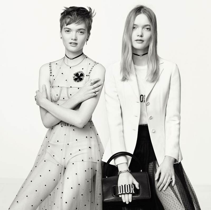Dior campaign spring-summer 2017 shooted by Brigitte Lacombe with models Ruth et May Bell.