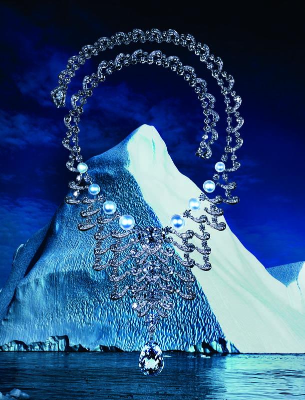 Collier haute joaillerie en platine, diamants, diamants jaunes et perles fines, CARTIER.