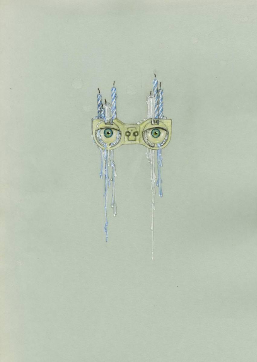 Lémure (2012) deCédric Rivrain,crayon,crayon de couleur,acrylique,vernis à ongles,larmes sur papier,50 x 32 cm.