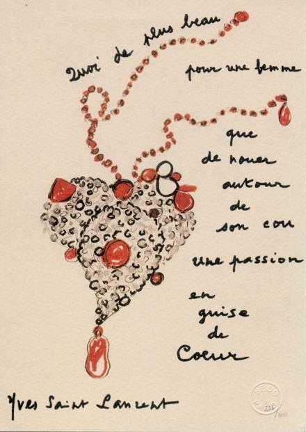 """Croquis du """"Cœur"""" réalisé par Yves Saint Laurent pour le magazine Vogue de novembre 1990. Fondation Pierre Bergé-Yves Saint Laurent, Paris."""