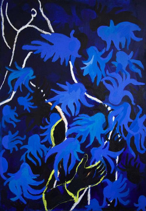 """Alice Grenier Nebout, """"la danse de la méduse"""",fusain, pastel gras et acrylique sur toile, 100x70 cm, collection particulière"""
