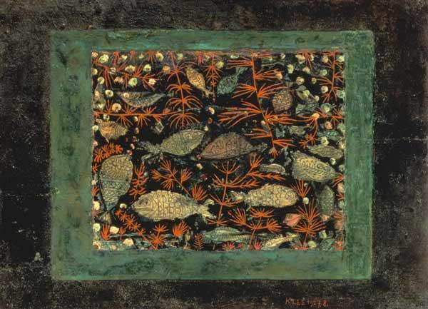 Paul Klee, Aquarium(1927). Œuvre présentéeau sein de l'exposition Paul Klee, l'ironie à l'œuvre auCentre Pompidou jusqu'au 1er août.    3. LES POISSONS DE PAUL KLEE   Cette œuvre de Paul Klee est un choix purement instinctif. Ce vert profond est magnifique.Le tableau est étrangement kitsch, avec ce thème aquatique digne d'un horoscope de Susan Miller…et pourtant, c'est magistral. Je ne peux que conseiller d'allervoir la très belle exposition du Centre Pompidou.   www.centrepompidou.fr