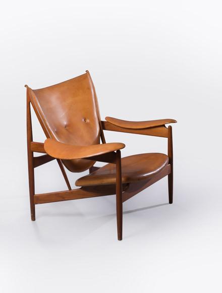 Fauteuil Mod. FJ 49 dit Chieftain, Finn Juhl, 1949 Teck et cuir cognac d'origine Édition Niels Vodder, 93,5 x 103,5 x 92