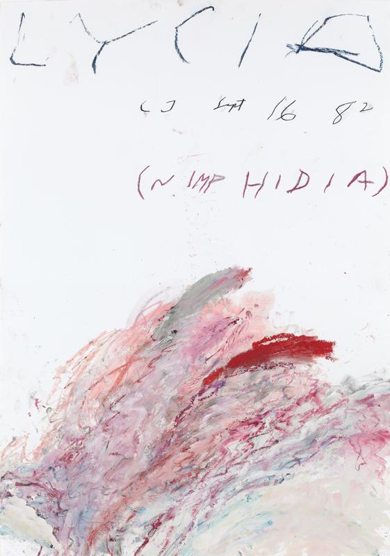 """Cy Twombly, """"Nimphidia"""" (1982)© Donation Yvon Lambert à l'Etat français / Centre national les arts plastiques / Dépôt à la Collection Lambert, Avignon Crédit photo : Franck Couvreur"""